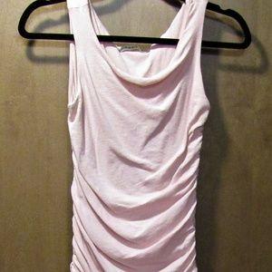 Form Fitting Gathered Soft Pink Slip On Dress